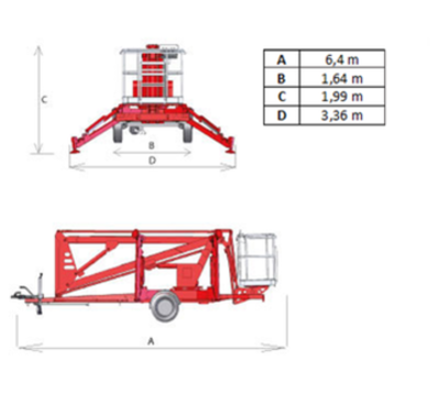 Europelift TM13G trailer mounted lift